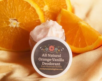 All Natural Orange-Vanilla Deodorant/Natural Deodorant/Cream with Essential Oils/Healthy Deodorant/Chemo Gift/Gift for Chemo Patient