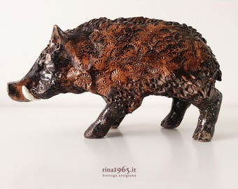 Sardinian ceramic wild boar sculpture