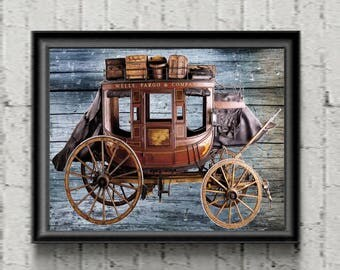 Wells Fargo Art Print Stagecoach Horses Gold Gift Poster Vintage Style  Wall Decor