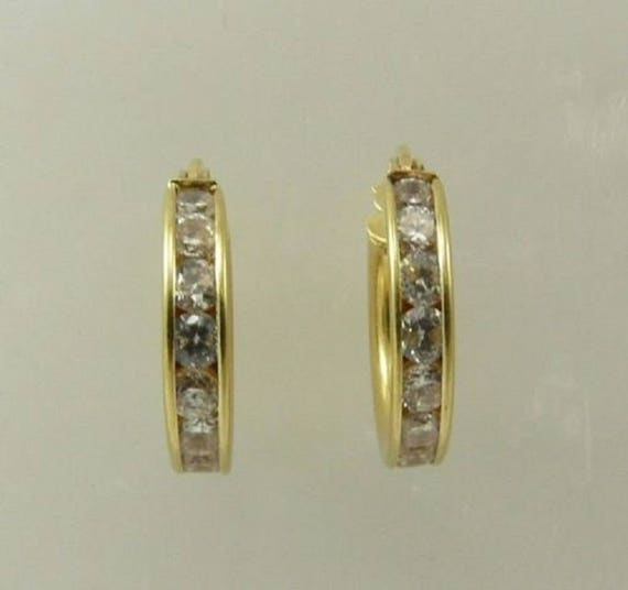 Cubic Zirconia Hoop Earring 14k Yellow Gold