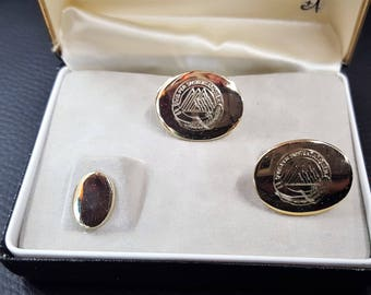 Anson oval cufflinks and tie tack