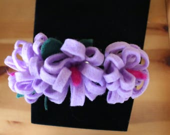 Hairband With Lilac Flower With Cerise Centres And Dark Green Leaves