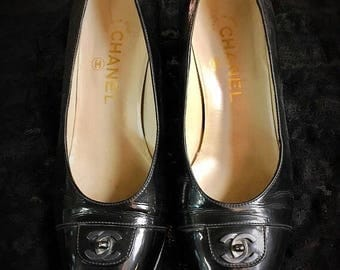 RESERVED//Stella - Vintage CHANEL Turnlock Black Heels Size 6.5 or 7