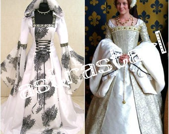 Medieval wedding dress S-M 10-12-14 gothic witch tudor renaissance costume handfasting wicca carnival victorian LARP LOTR game of thrones
