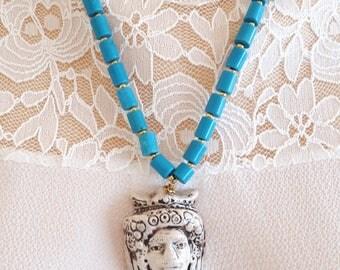 Caltagirone ceramics necklace with turquoise coral