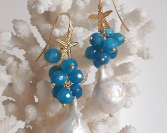 White Baroque pearl earrings, turquoise agate and silver starfish