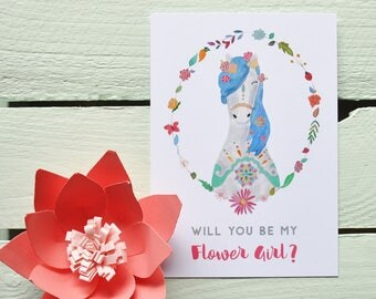 Will You Be My Flower Girl? Postcard - Pony. Cute Horse Flower Girl Card - Bridesmaid Card - Bridesmaid Proposal Card.
