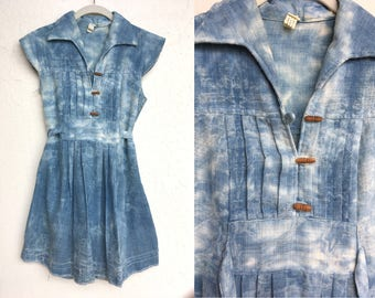 Blue Cotton Dress- Indigo Dyed, Distressed, Summer, Sun, Small