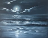 Full Moon Painting, Black and White Art, Monochrome, Indigo Starry Night, Ocean Waves, Monochromatic Art, Large Oil Painting, Ocean at Night