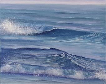 Original Beach Painting, Ocean Waves Art, Ocean Painting, Ocean Art,  Seascape, Ocean, Seascape, Small Oil Painting on Canvas