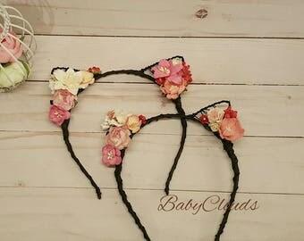 SET of 2- Flower cat ears headband, floral cat ears, cat ears headband, festival,Rose Cat Ears