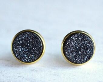 Starlight - Black Druzy Gold Bridesmaid Stud Earrings