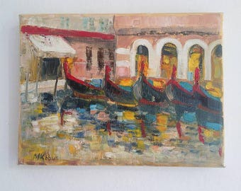 Venice, Malgo Kobus oil Palette knife painting on canvas,  small oil painting, landscape, 18/24cm