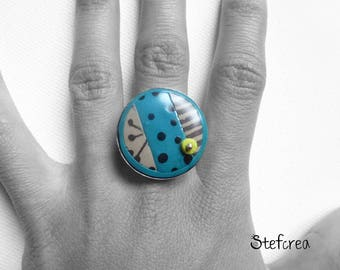 "Ring original polymer ""turquoise black mole"" silver"