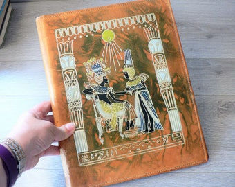Tooled Leather Notepad Organizer with Egyptian Theme