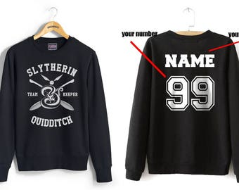 KEEPER - Custom back Slyth Quidditch team Keeper on Black Crew neck Sweatshirt