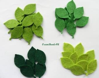 Felt Green Leaves G, Felt leaves, felt shapes, appliques, green leaves, grün filz blätter