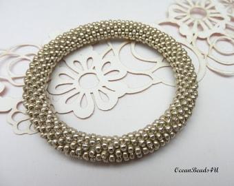 Silver Roll on Beaded Bracelet/ Bangle / Nepal Bracelet/ Armband/ Gold Bracelet
