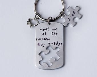 Puzzle piece pet memorial keychain or necklace