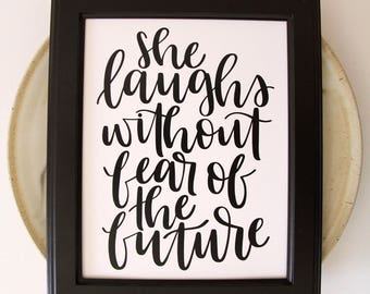 Proverbs 31 Print | She Laughs without Fear of the Future | Christian Printable | Bible Verse Print | Scripture Print | Christian Wall Decor