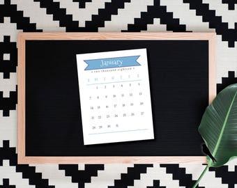 2018 Printable Fun Banner Desk Calendar - 12 Month Printable Monthly Desk Calendar - Small Cute Classroom Calendar - Instant Download