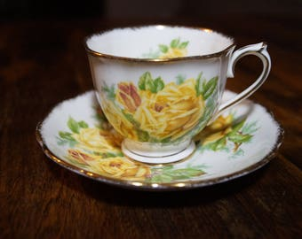 """Royal Albert """"Tea Rose"""" Teacup and Saucer, Yellow Roses"""