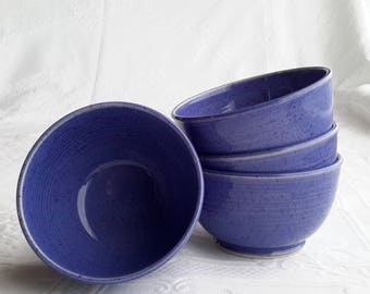 café au lait bowls, set of 4 pottery bowls, handmade blue bowl, cereal bowl, soup bowl, ceramic bowl, pottery gift, gift for girlfriend