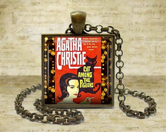 Agatha Christie Book Necklace Agatha Christie Book Jewelry Cat Among Pigeons Book Literary Gift Literature Necklace Literature Jewelry