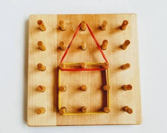 Wooden Geoboard - wood Geo board - pegboard - math manipulative - Montessori toy - Waldorf toy - wooden toys - toddler gift - gift for kids