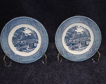 TWO Royal China Currier Ives Blue & White Bread Plates The Harvest Set of 2 EXCELLENT!