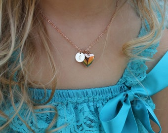 personalized flower girl locket necklace, flower girl necklace, flower girl initial necklace, rose gold flower girl necklace