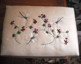 Jewellery box with hand embroidered silk top