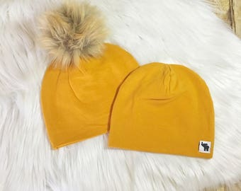 Mustard Pom Beanie // Mustard Yellow Beanie // Baby Beanie // Toddler Beanie // Newborn Beanie // Fall Beanie // Winter Cold Weather Hat