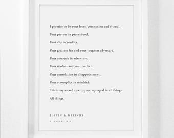 Framed Wedding Vows, Gift for Wife, Gift for Husband, Wedding Vows, Wedding Vows Framed, Framed Wedding Vows Print, Custom Framed Vows
