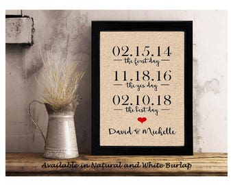 The first day, the yes day, the best day, anniversary gift for wife, Personalized Valentines Day, important dates, engagement gift for her