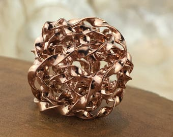 Thai Karen Hill Tribe Silver Large Rose Gold Vermeil Bird Nest Bead