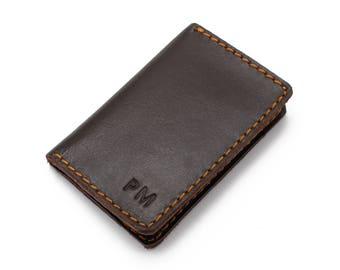Leather Card Holder Credit Card Holder Mini Pocket Wallet - Dark Brown Leather