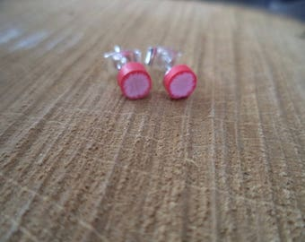 Pink polymer clay round Silver earrings