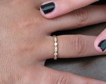 Art Deco Wedding Band 14k Yellow Gold, Eternity Band Diamond, Antique Ring Diamond, Vintage Band, Anniversary Band, Diamond Wedding Ring