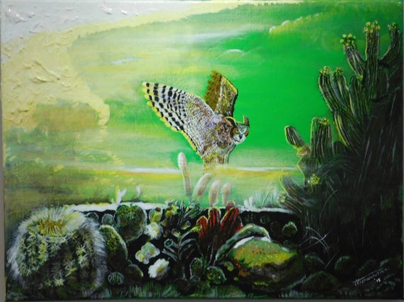 Original painting, Acrylic on Canvas, Landscape , Abstract, Owl, Bird, Home decor, Wall hanging, Cactus, Outdoors, Mist, Yellow color