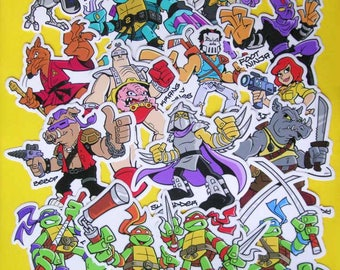 Ninja Turtles Vinyl Stickers Die Cut TMNT Decals - 15 to Choose From - Michelangelo, Donatello, Leonardo, Raphael, Shredder, Krang & More!