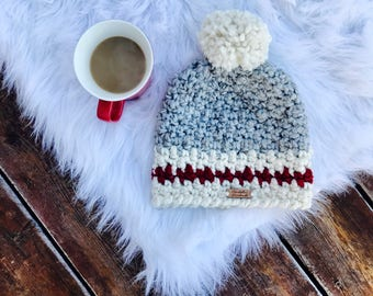 Sock monkey crochet beanie