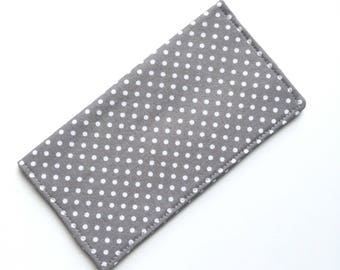 Checkbook cover, checkbook holder, wallet, receipt holder, gray with white dots