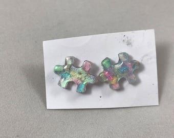 Sprinkle Resin Puzzle Piece Earrings