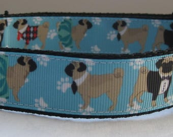 Pug Dog collar matching lead available pug in suits