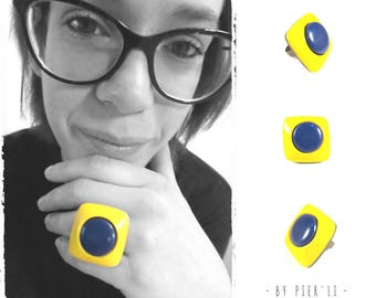 Yellow and blue Adjustable ring © PIER'LI