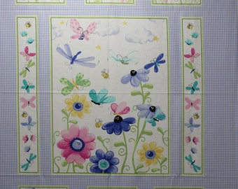 Flutter, a Susybee fabric panel designed for Hamil Textiles.  This is a lilac, floral panel great for girls.