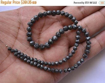 50% DISCOUNT 6.5 Inches Black Diamonds, Conflict Free Diamond, Raw Rough Round Diamond, Natural Round Beads, 4mm To 6mm