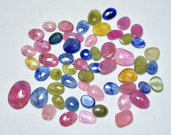 Sapphire Rose Cut, Ruby Rose Cut, Faceted Cabochon, Polki Cut Ruby And Sapphire 7x9mm to 12x14mm Each 10 pieces