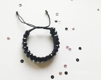 Black Macrame Beaded Bracelet